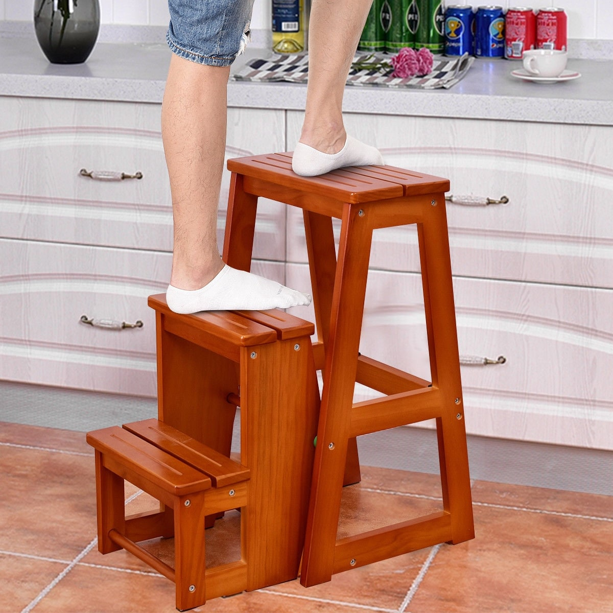 Shop Costway Wood Step Stool Folding 3 Tier Ladder Chair Bench Seat
