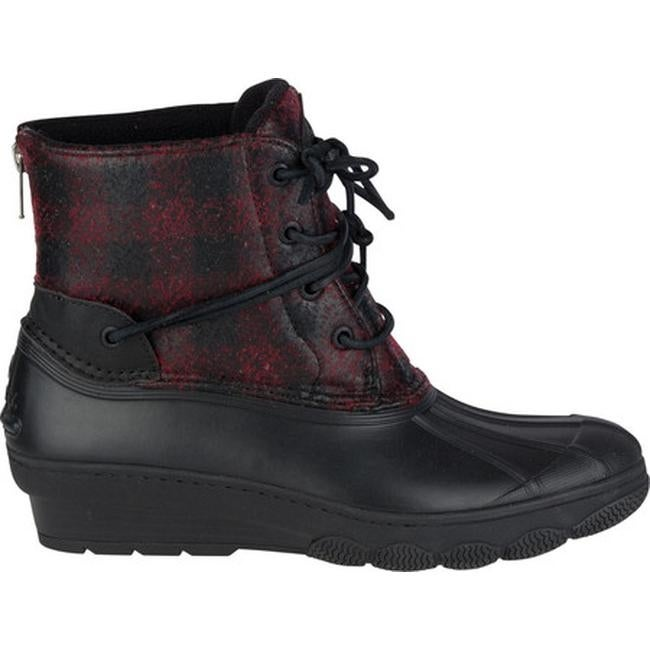 0d9318bab43a Shop Sperry Top-Sider Women s Saltwater Wedge Tide Duck Boot Black Red Buffalo  Plaid Wool EVA - Free Shipping Today - Overstock - 18521843