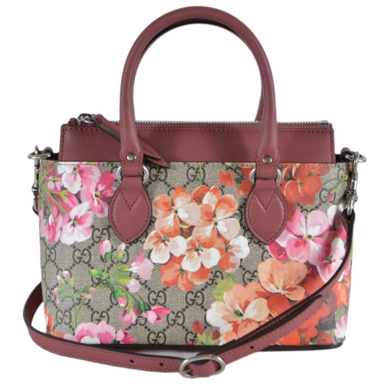 19a5bd0aad1c Shop Gucci Women's 453177 SMALL GG Supreme BLOOMS 2-Way Shoulder Bag Purse  - Beige/Brown - Free Shipping Today - Overstock - 27890054