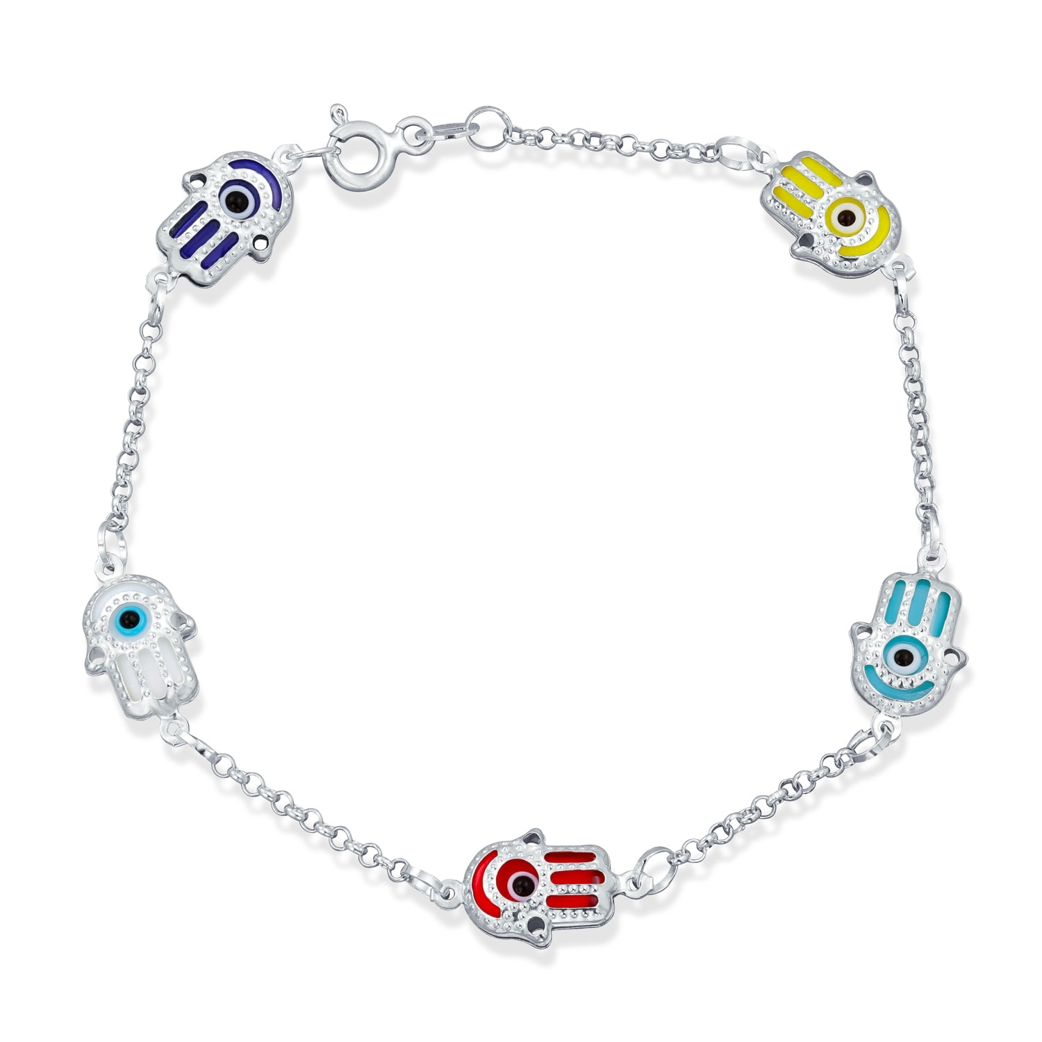 Bling Jewelry Turkish Evil Eye Sterling Silver Hamsa Bracelet On Free Shipping Orders Over 45 17987103