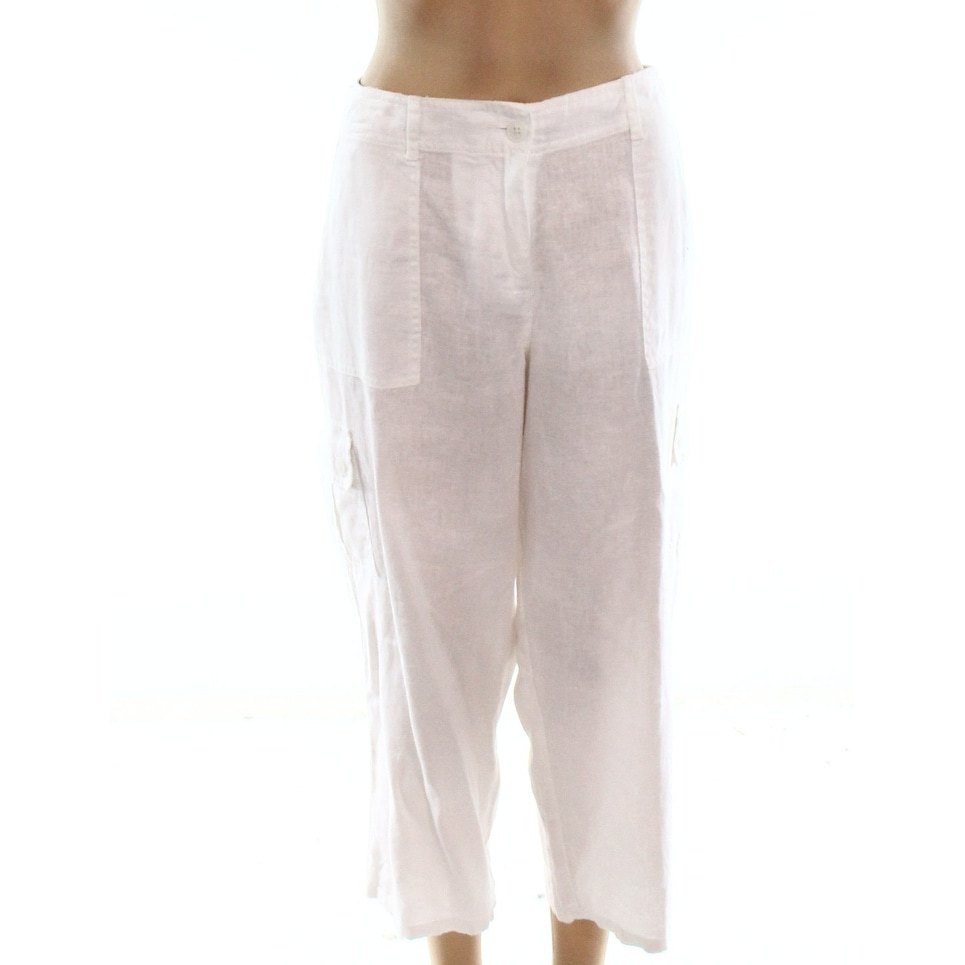 8f58d708 Shop Tommy Bahama Classic White Womens Size 14 Cropped Linen Pants - Free  Shipping On Orders Over $45 - Overstock - 27566247