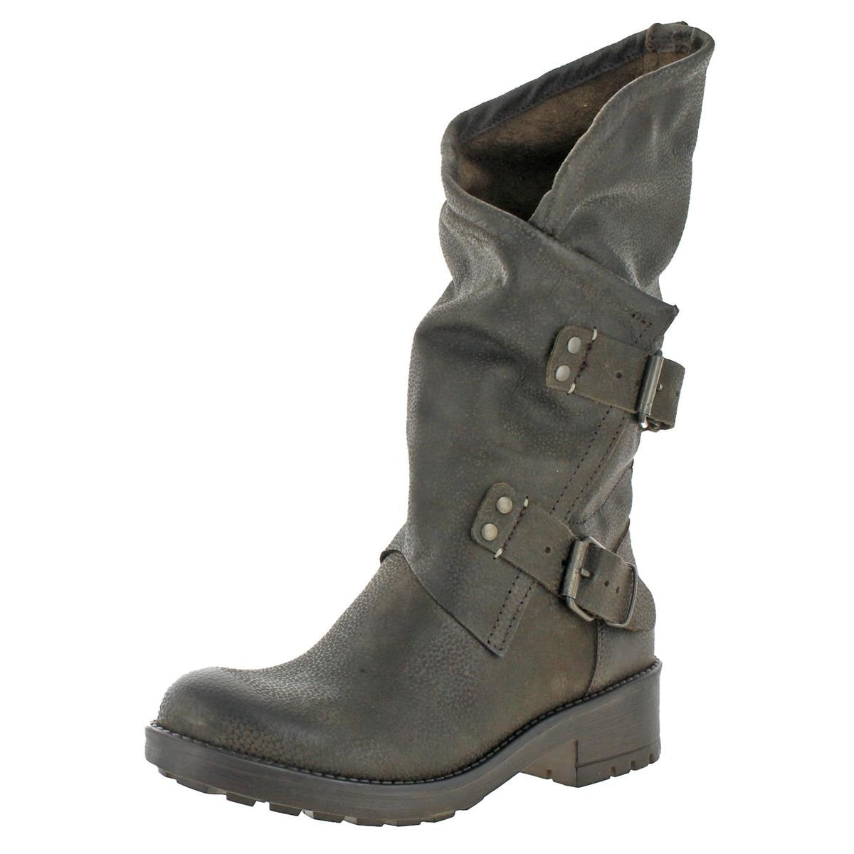 886a42cea2c Coolway Womens Alida Motorcycle Boots Mid-Calf Pull On