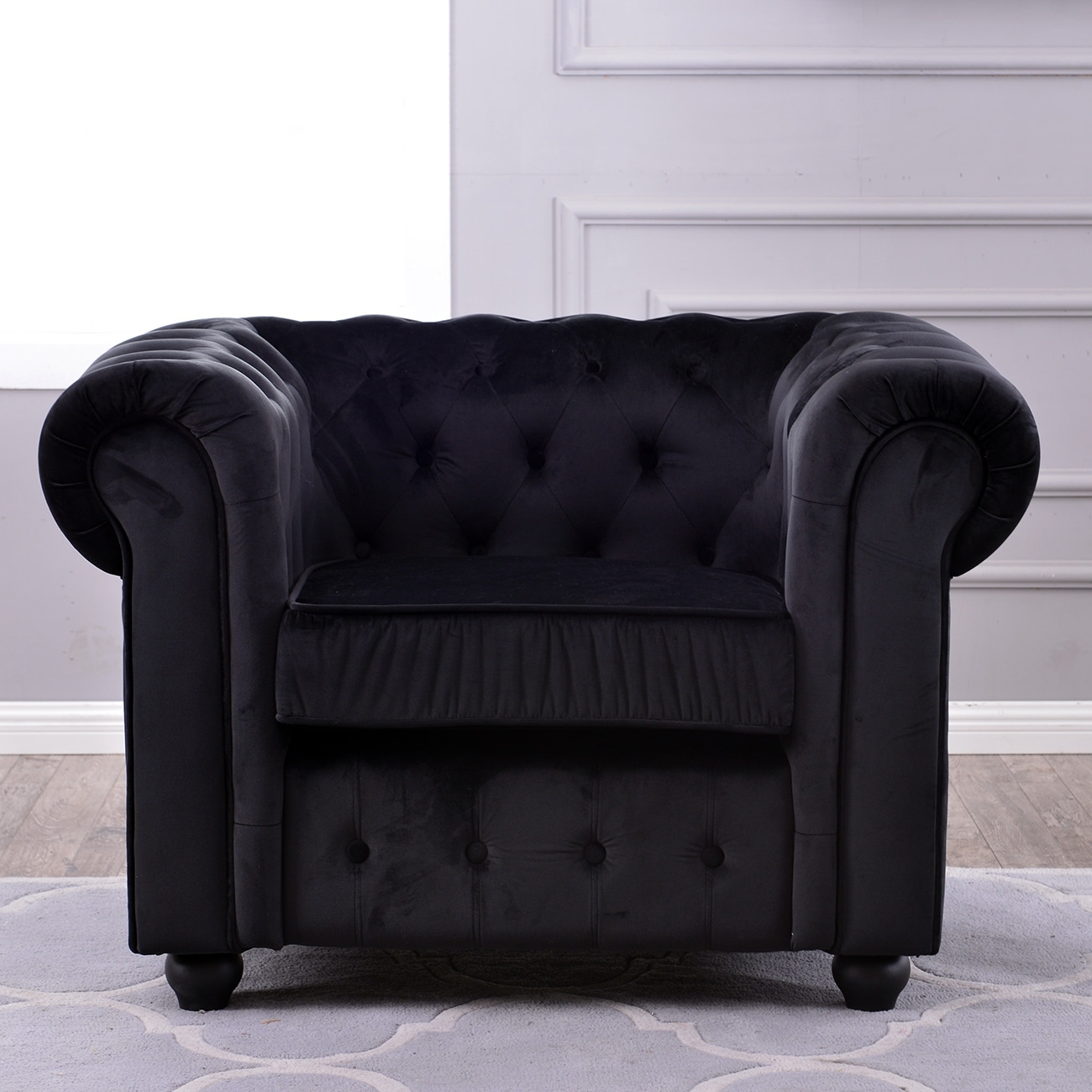 Shop Belleze Classic Scroll Arm Large Living Room Accent Chair Ultra Soft  Tufted Velvet, Black   Free Shipping Today   Overstock.com   17833236