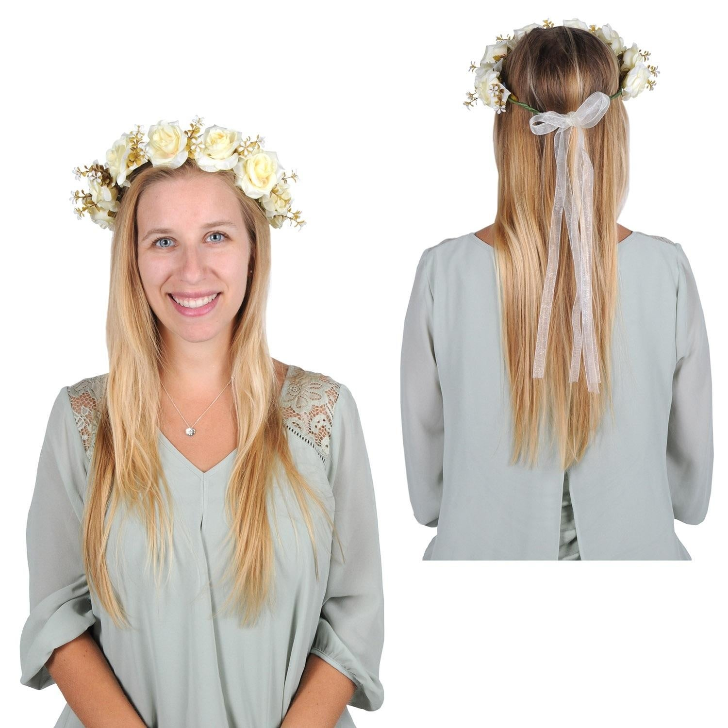Club Pack Of 12 Springtime Wedding Adjustable White Floral Crown