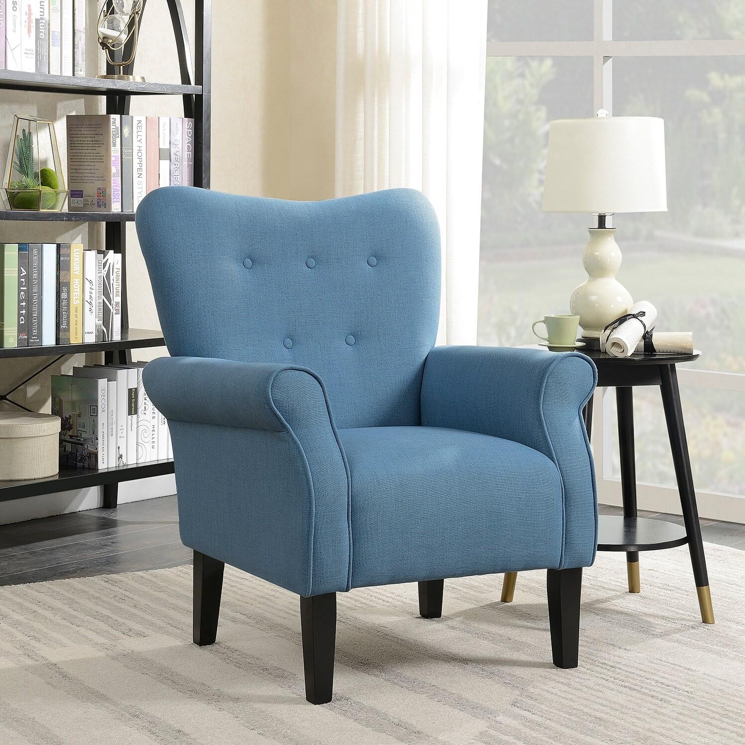 Belleze modern linen accent chair armrest living room w wood leg blue