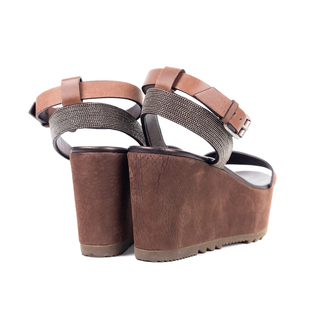 6abc8be80a9 Shop Brunello Cucinelli Brown Crackled Suede Platform Wedge Sandals - On  Sale - Free Shipping Today - Overstock.com - 21710584