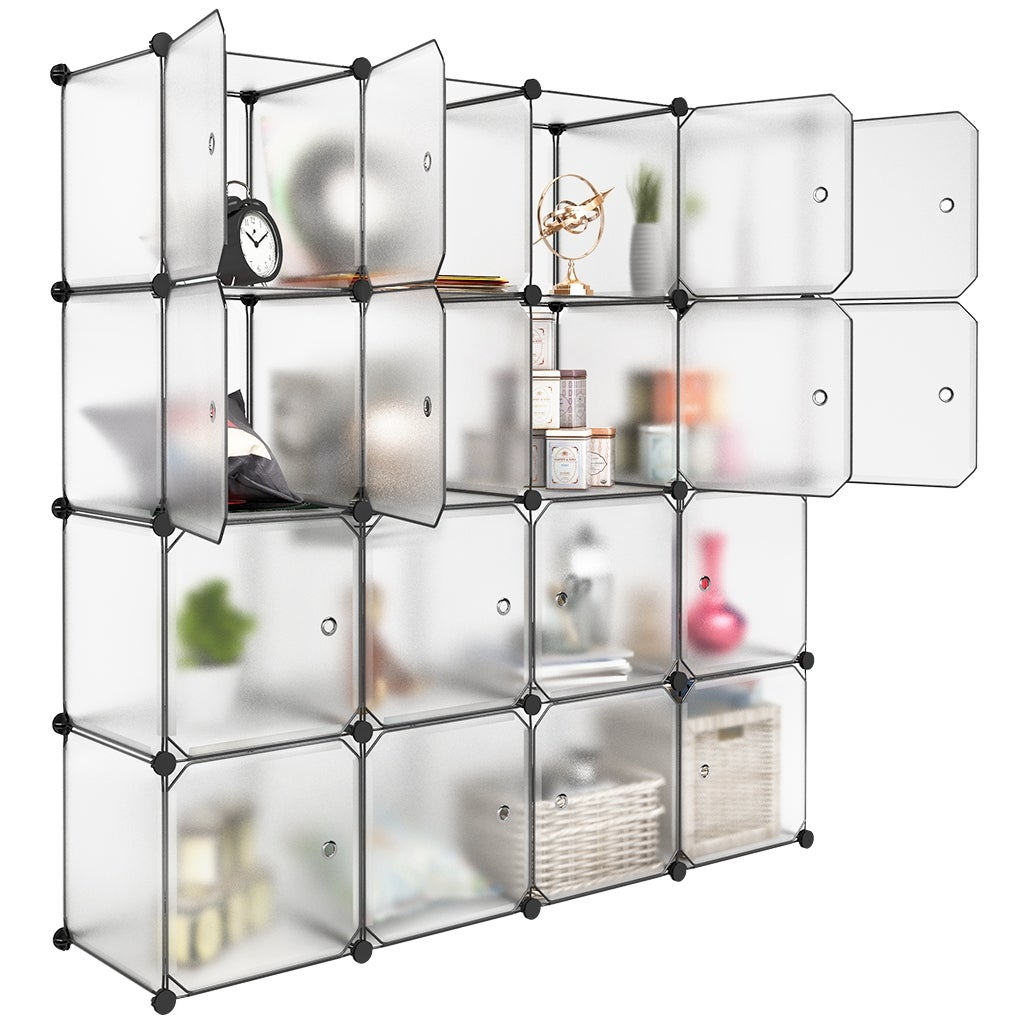 LANGRIA 16 Cube Modular DIY Storage Closet Organizer Plastic Shelving,  Translucent