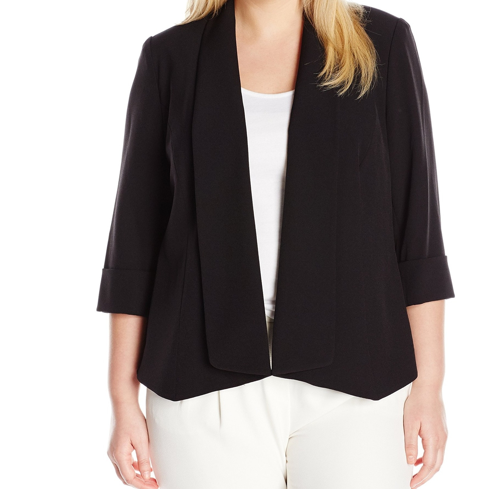 ebd7daa74a9fb Kasper Black Womens Size 24W Plus Open Front Roll Sleeve Jacket - Free  Shipping On Orders Over  45 - Overstock - 27420000
