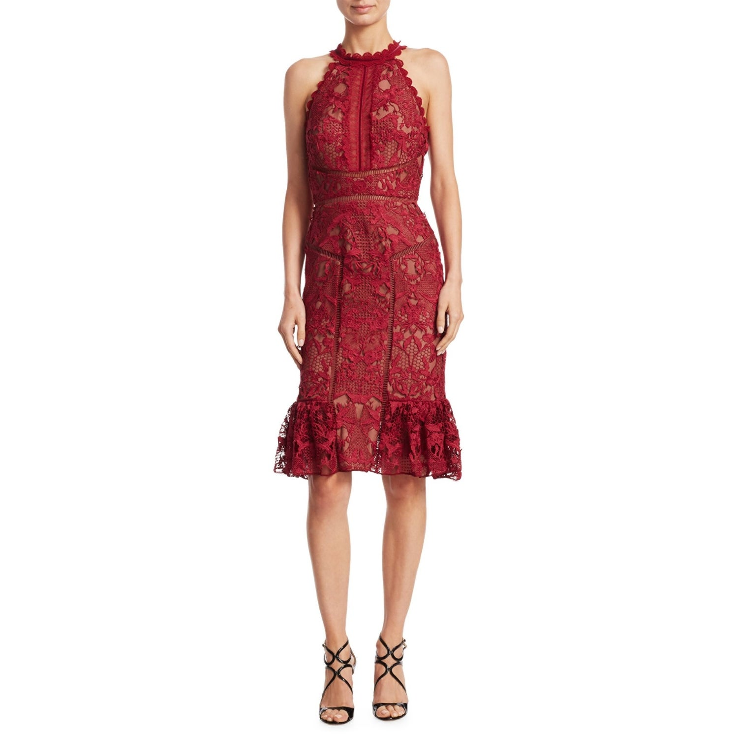 5ad95706 Shop Marchesa Notte Guipure Lace Velvet Trim Cocktail Dress Wine - 4 - Free  Shipping Today - Overstock - 25583222