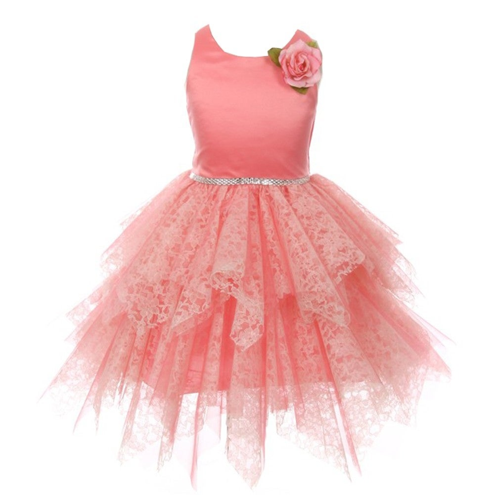 Kiki Kids Girls Coral Floral Accent Lozenge Junior Bridesmaid Dress ...