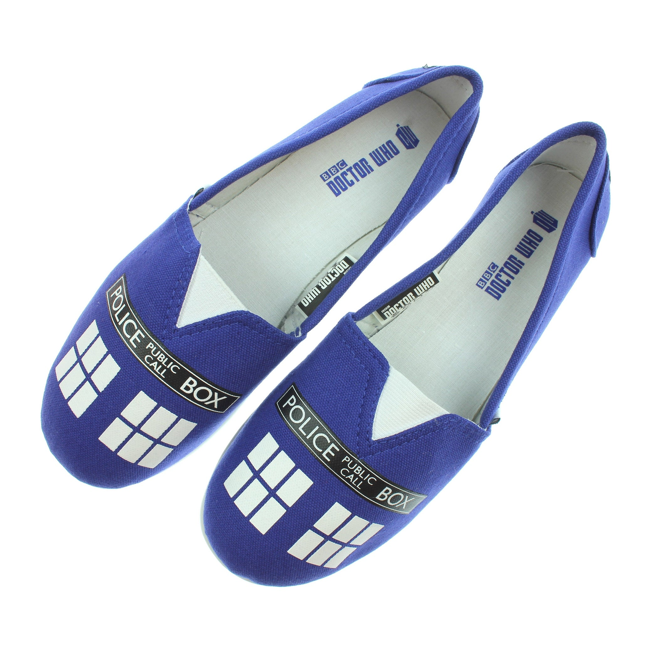 53cf71738057 Shop Doctor Who Women s Blue Tardis Slip On Shoes - Free Shipping On Orders  Over  45 - Overstock.com - 16605582