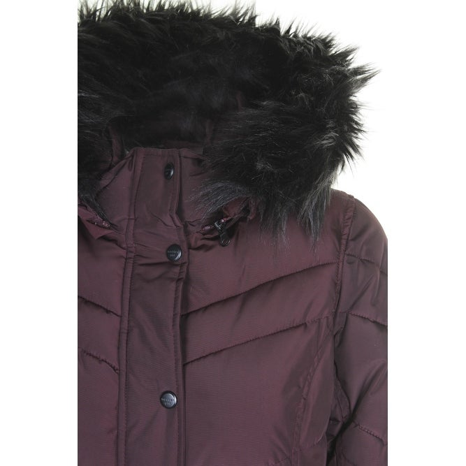 56b4db9a0ac Shop Madden Girl Juniors Merlot Black Faux-Fur-Trim Hooded Puffer Coat M -  Free Shipping On Orders Over $45 - Overstock - 24188986