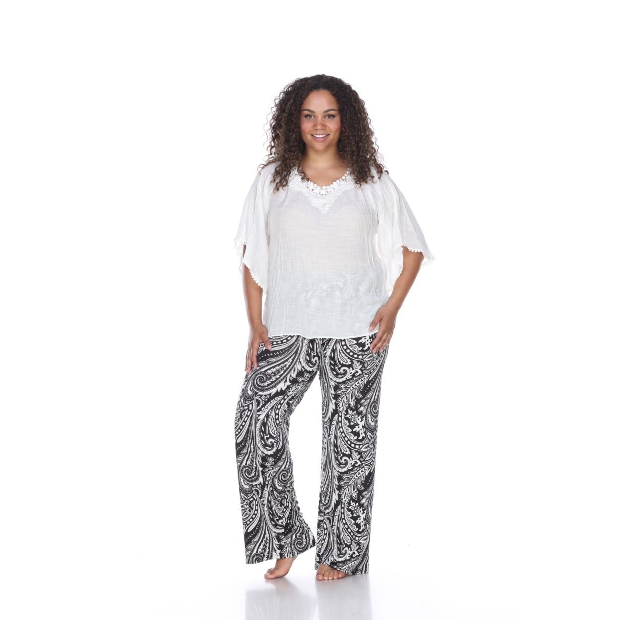 360697cf7d00b0 Shop Plus Size Printed Palazzo Pants - Black & White Paisley - On ...