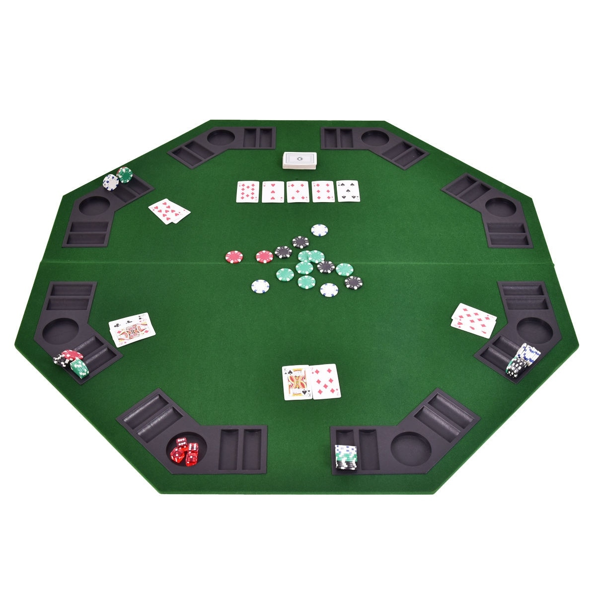 shop costway 48 octagon 8 player folding poker table top rh overstock com portable poker table octagon portable poker table top