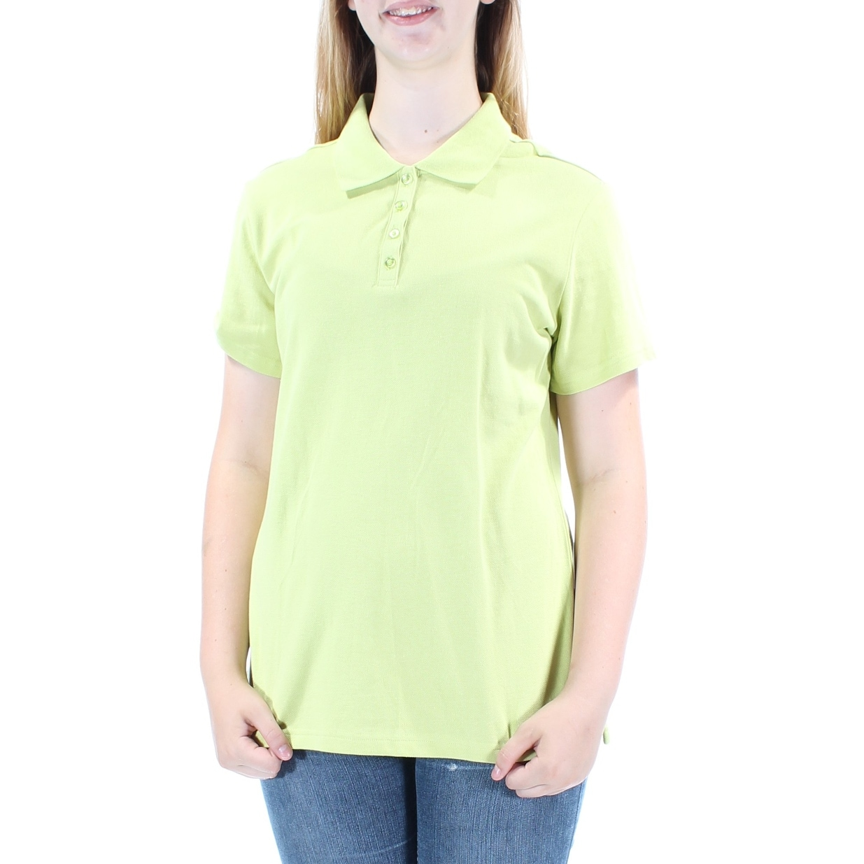 Shop Womens Green Short Sleeve Collared Casual Tunic Top Size M On