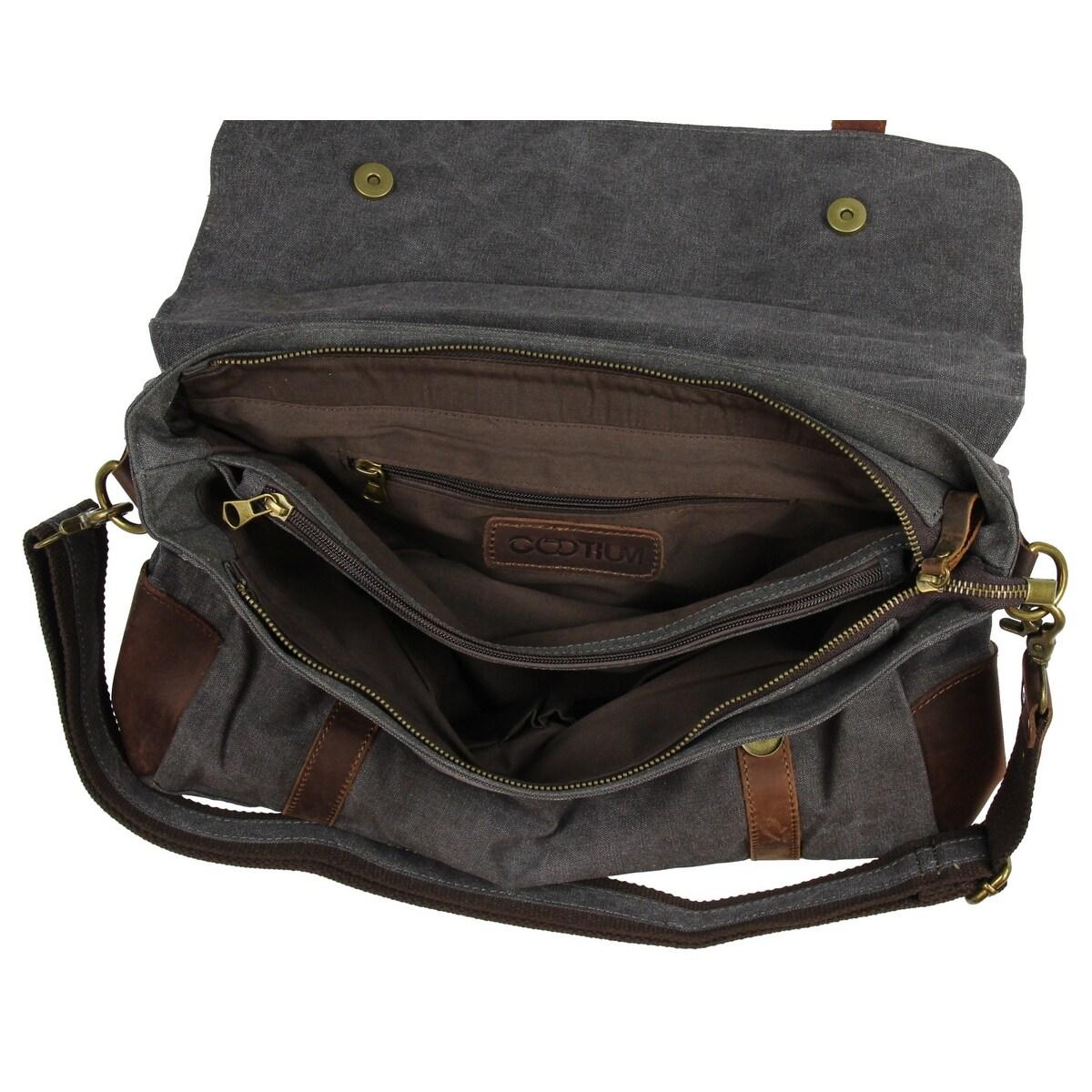 1374f7840a Shop Gootium Canvas Leather Messenger Bag Vintage Shoulder Bag 14-Inch  Laptop Briefcase
