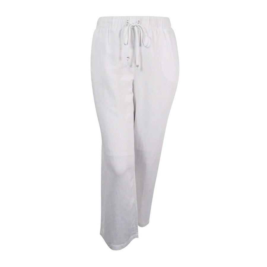 babdf87b786 Shop NY Collection Women s Plus Size Linen-Blend Wide-Leg Pants (2X ...