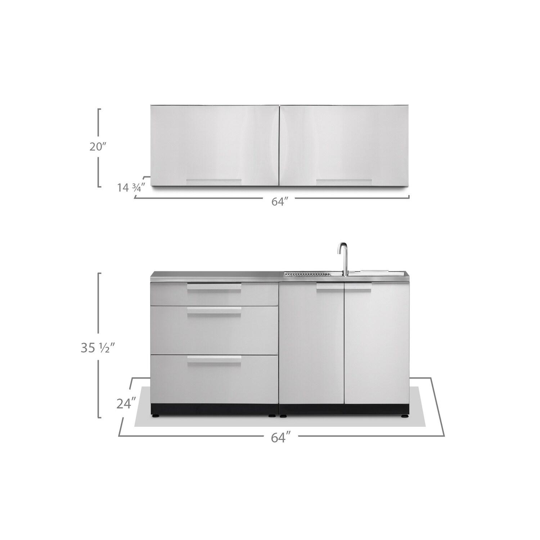NewAge Products Outdoor Kitchen 64 Inch W x 24 Inch D 5 Piece Set ...