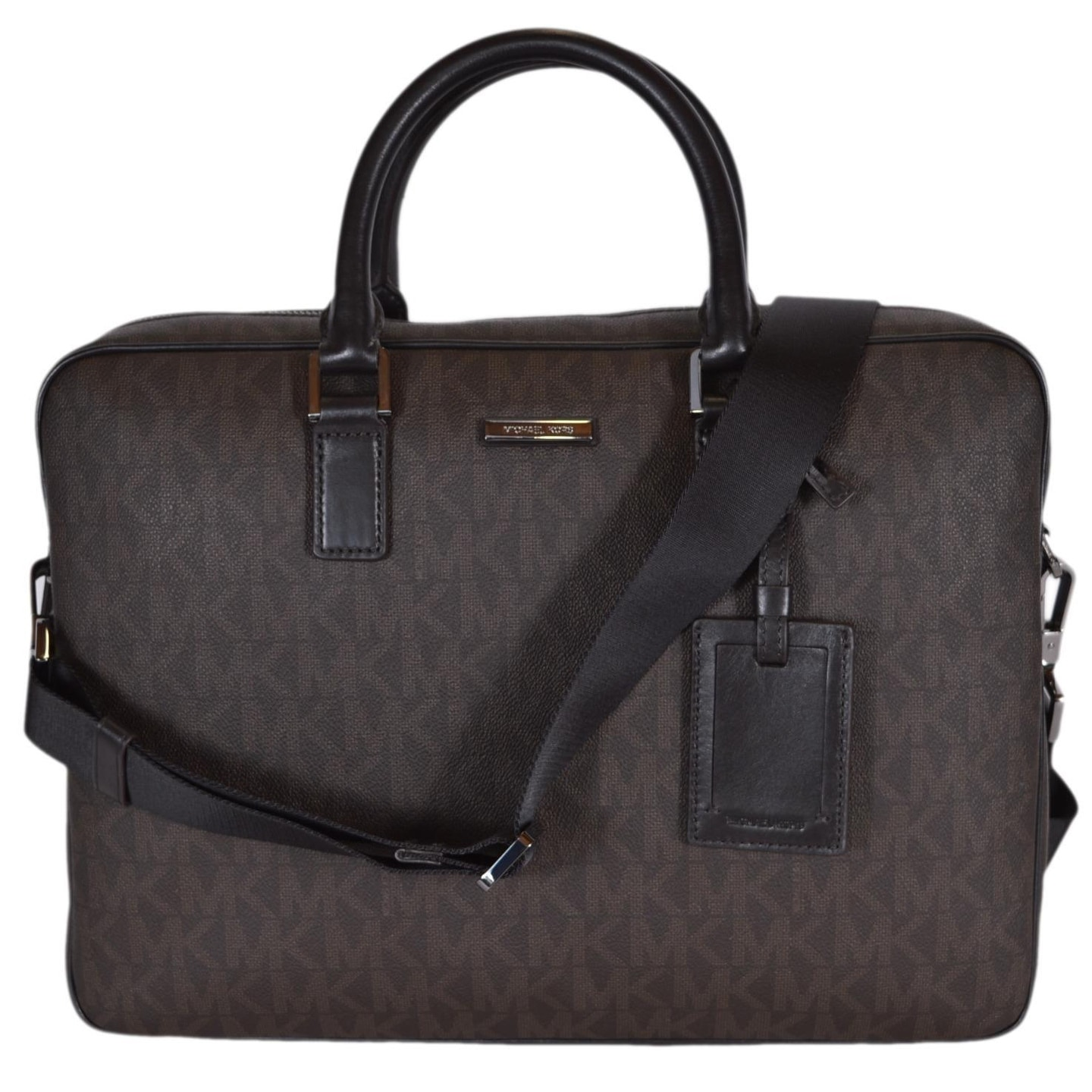 784eb51be2a6 Shop Michael Kors Men s Brown Coated Canvas Logo Jet Set Briefcase Bag -  Free Shipping Today - Overstock - 21585724