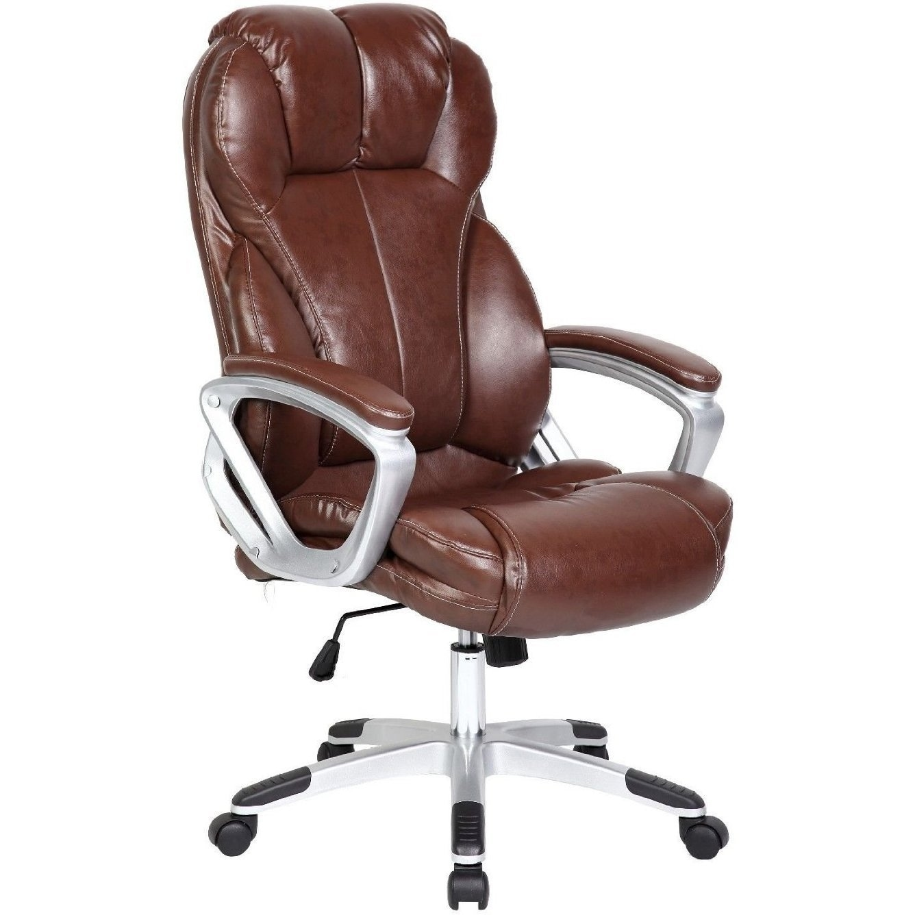 2xhome Brown Leather Deluxe Professional Ergonomic High Back Executive Office Chair Free Shipping Today 14039725