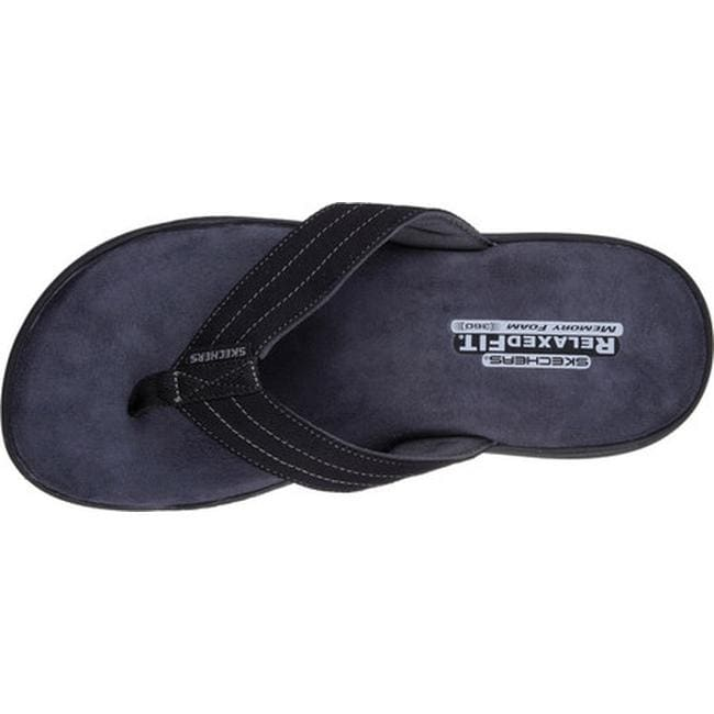 71902f362af0 Shop Skechers Men s Relaxed Fit Evented Rosen Thong Sandal Black - On Sale  - Free Shipping On Orders Over  45 - Overstock - 14143446