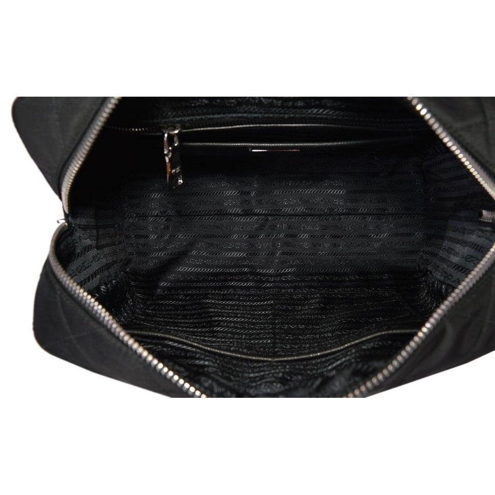 56575618fed9 Shop NFG Prada Black Quilted Nylon Tessuto Impuntu Chain Strap Shoulder  Purse Handbag - 12