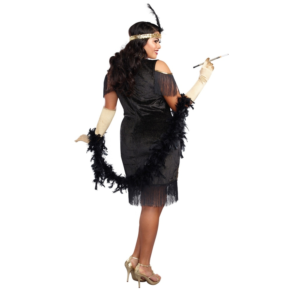 5aa06a1e91 Shop Dreamgirl Swanky Flapper Plus Size Costume - Black Gold - Free  Shipping Today - Overstock - 22335165