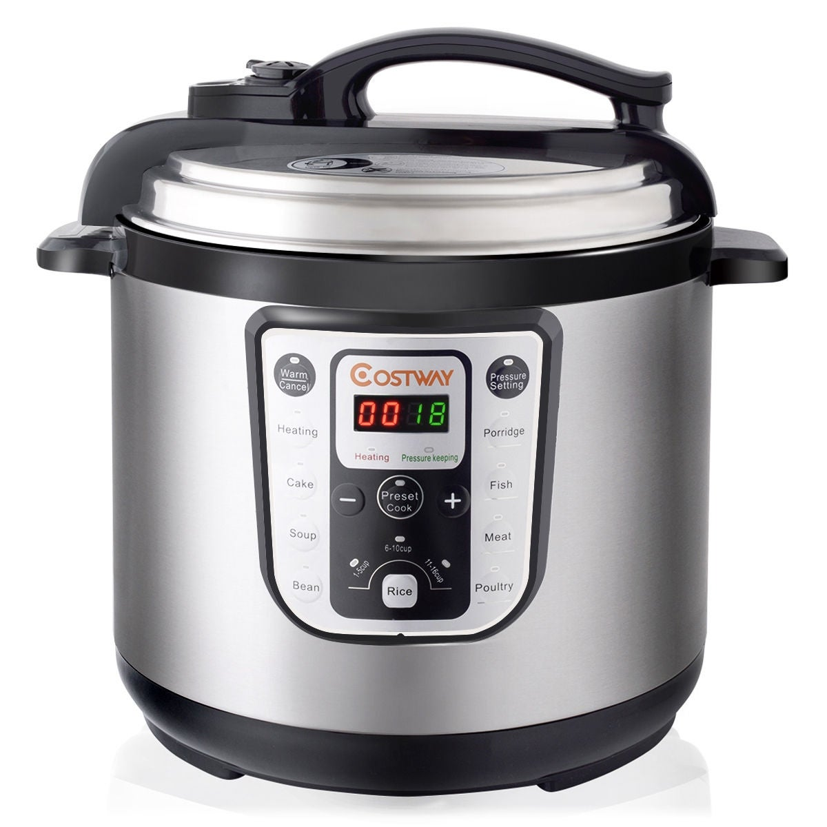 Costway 1250W 8 Quart Electric Pressure Cooker Programmable Multi Use Stainless Steel