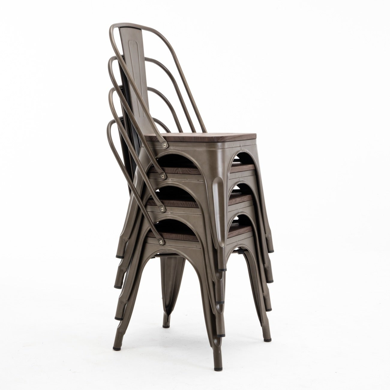 Shop BELLEZE Modern Style Metal Industrial Stackable Bistro Dining Chairs  Set Of 4 Wood Seat Cafe Bar Restaurant Stool   Free Shipping Today    Overstock.com ...