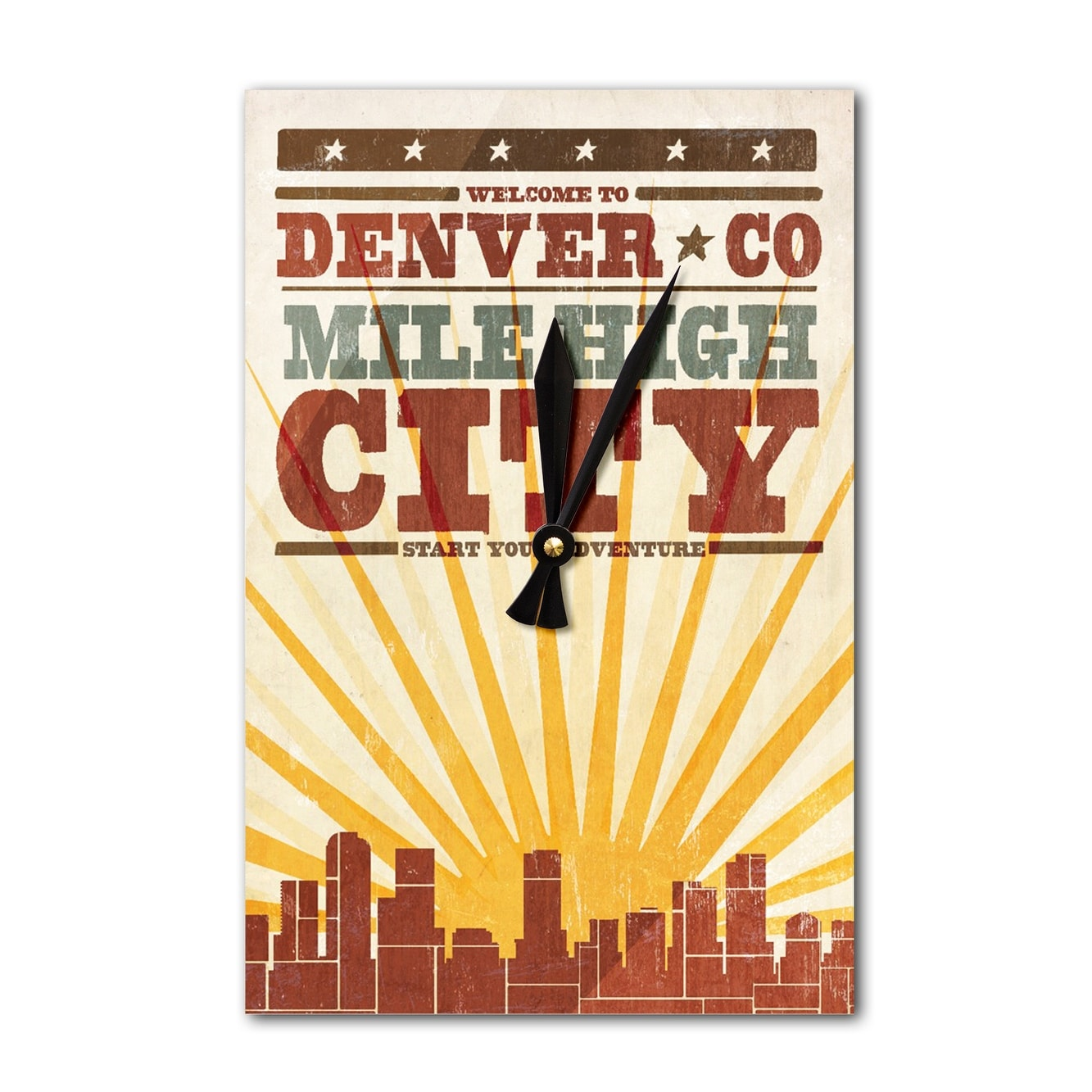 Denver, CO - Skyline & Sunburst Screenprint LP Art (Acrylic Wall ...