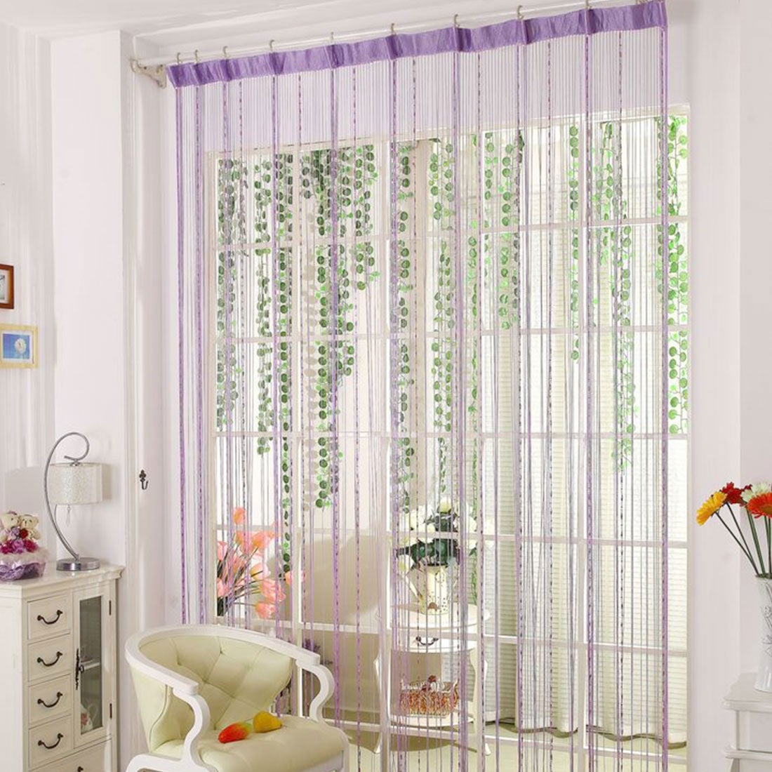 Shop Drop Beaded Chain String Curtain Voile Net Panels for Room