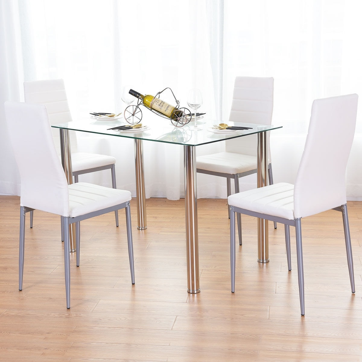 Costway 5 Piece Dining Set Table and 4 Chairs Glass Metal Kitchen ...