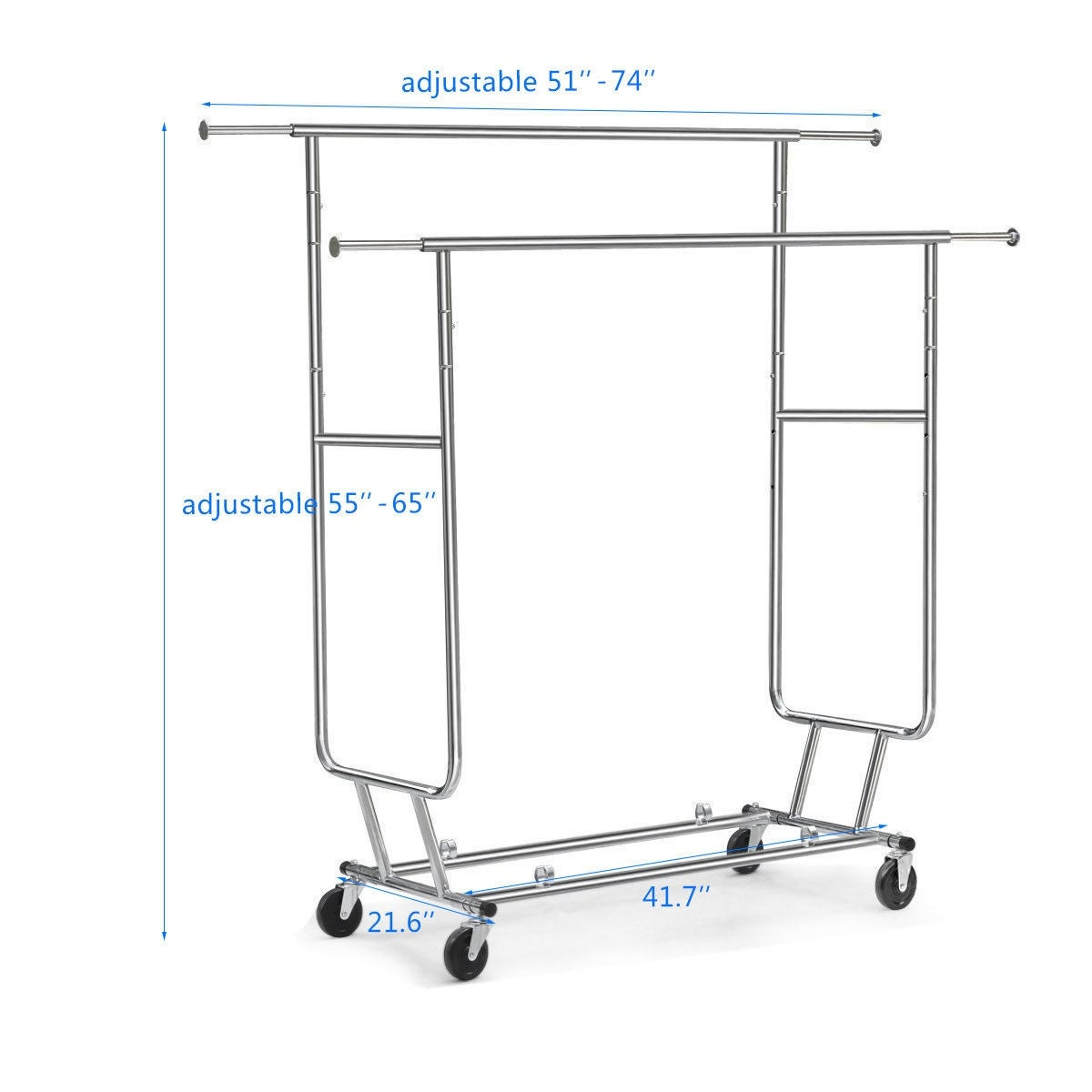 Shop costway commercial grade collapsible clothing rolling double garment rack hanger holder silver free shipping today overstock com 17950503
