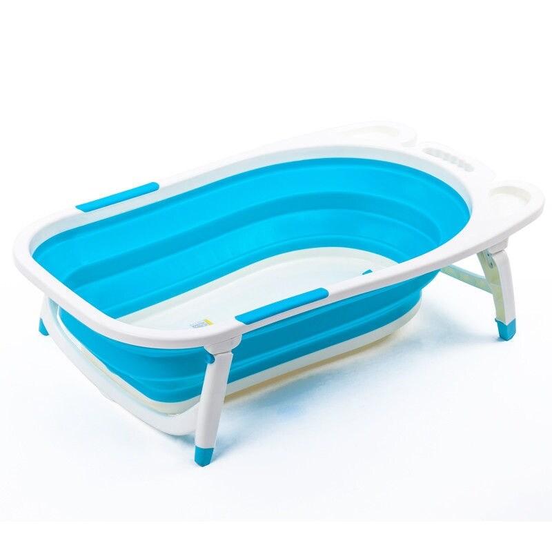 Shop Gymax Blue Baby Folding Bathtub Infant Collapsible Portable ...