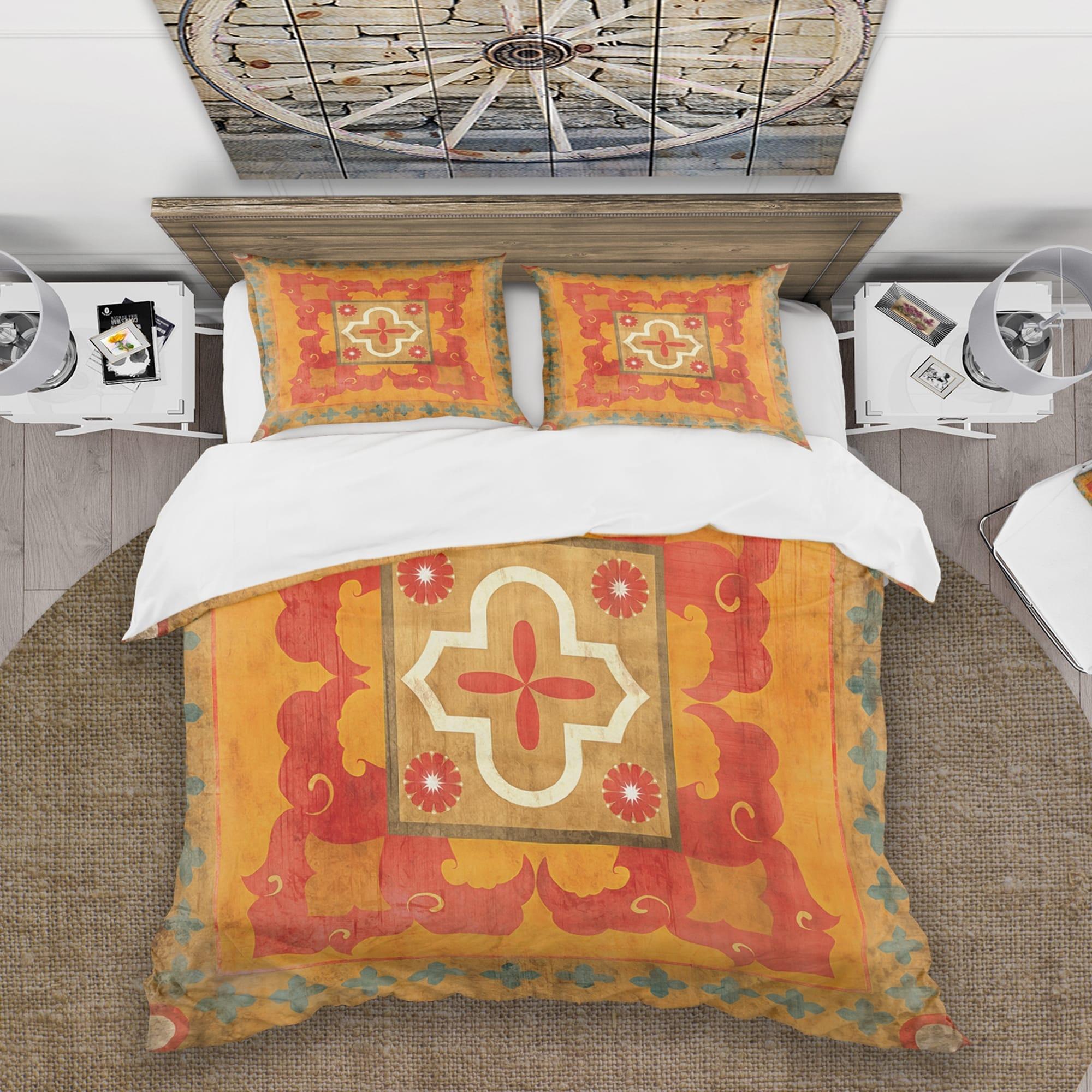 Designart Moroccan Orange Tiles Collage Ii Cottage Bedding Set Duvet Cover Shams On Sale Overstock 25971488