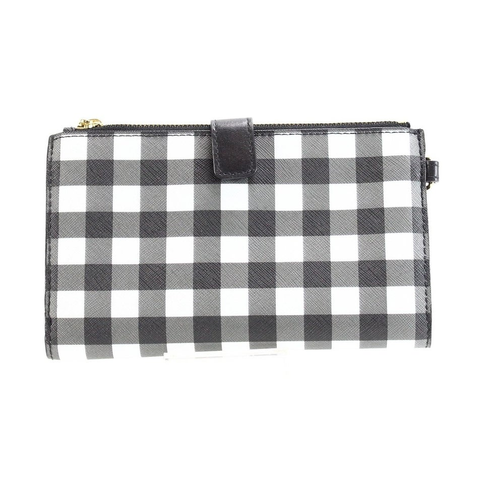 6c2c7bc449b0 Shop Michael Kors Gingham Double Zip Wristlet Clutch Bag Black White - Free  Shipping Today - Overstock - 22853554
