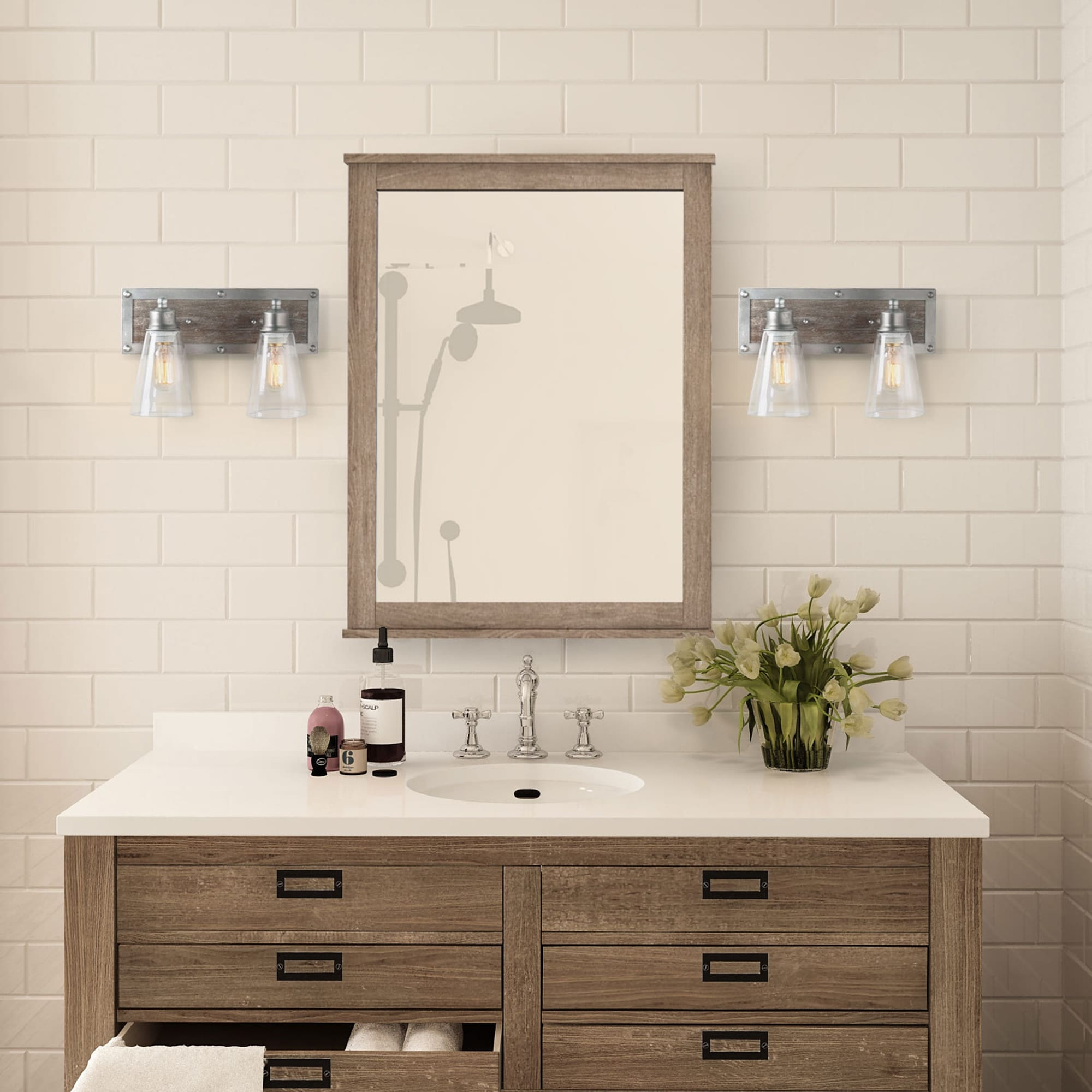 Rustic 2 Light Wood Wall Sconces Aged Silver Bathroom Vanity Wall Lights W14 X H9 X E6 7 Overstock 25454830