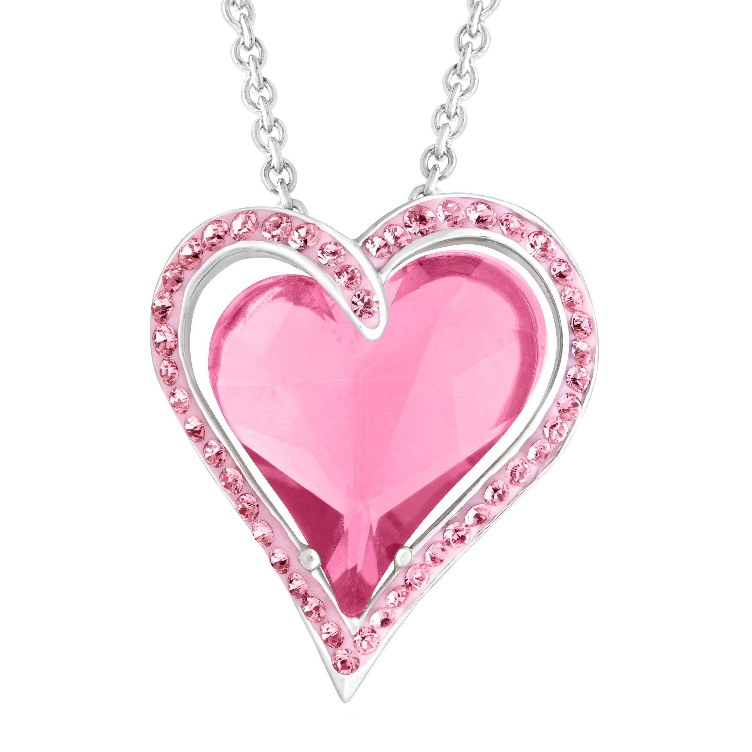 e92b375d9c3 Crystaluxe Double Heart Pendant Necklace with Rose Swarovski Crystals in Sterling  Silver, 18