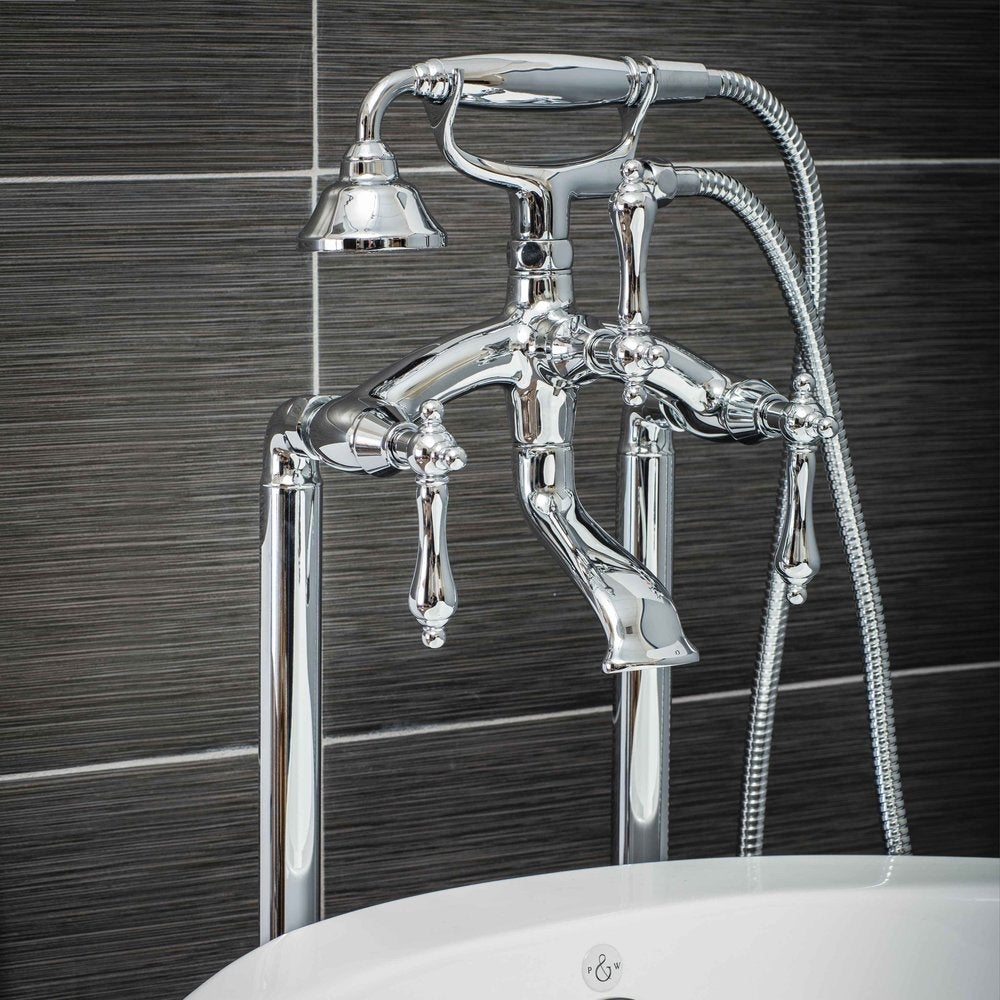 Shop Pelham & White Luxury Tub Filler Faucet, Vintage Design, Floor ...