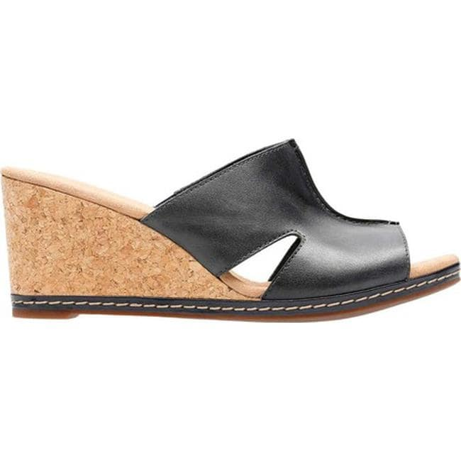 47150712683 Shop Clarks Women s Lafley Mio Wedge Navy Full Grain Leather - On Sale -  Free Shipping Today - Overstock - 20702504