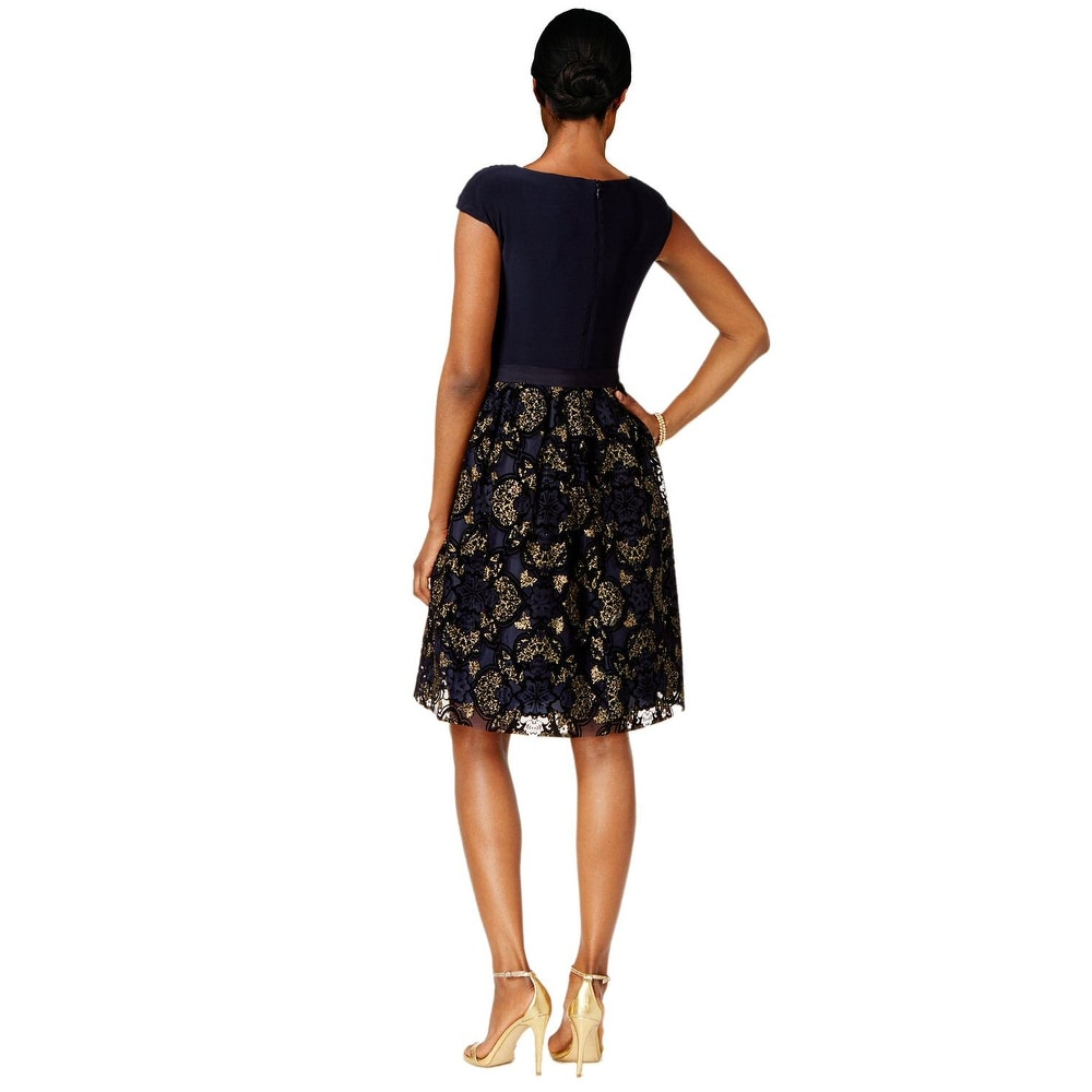 a56c48de6f8 Shop SLNY Fashions Plus Size Surplice Glitter Embellished Dress Navy Gold -  Free Shipping Today - Overstock - 17014422