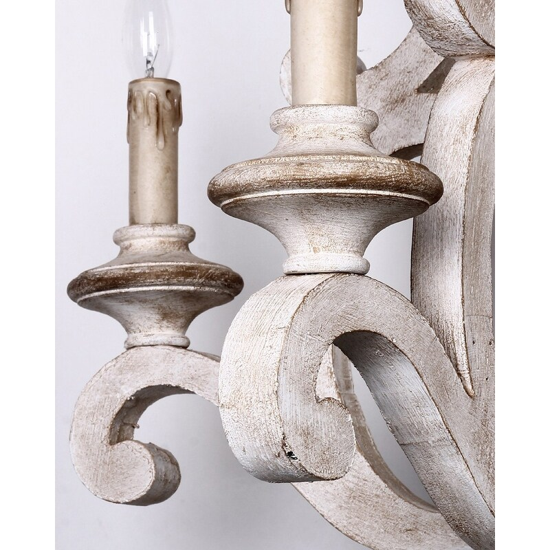 Farmhouse Distressed Antique White 5-Light Wood Chandeliers - Free Shipping  Today - Overstock - 25496309 - Farmhouse Distressed Antique White 5-Light Wood Chandeliers - Free