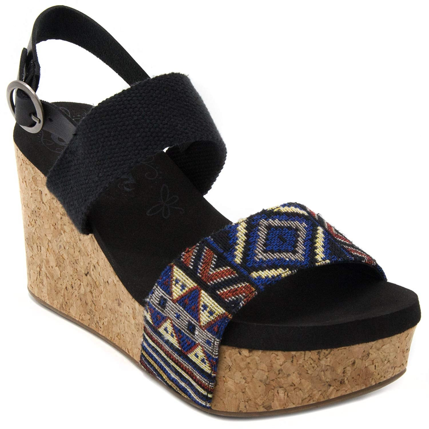 1be4401792 Sugar Women's Jinxy Slingback Cork Platform Wedge Sandal with Tribal Aztec  Pr..