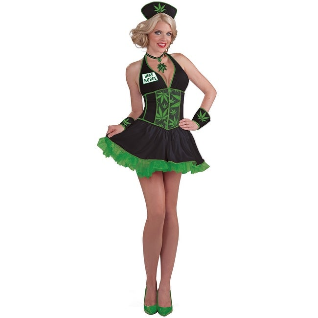 29312cf423703 Shop Leafy Head Nurse Costume, Weed Halloween Costume - as shown - Free  Shipping On Orders Over $45 - Overstock - 17826639