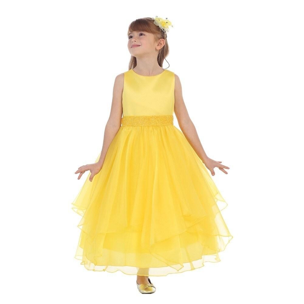 Shop Chic Baby Little Girls Yellow Beaded Waist Overlaid Flower Girl