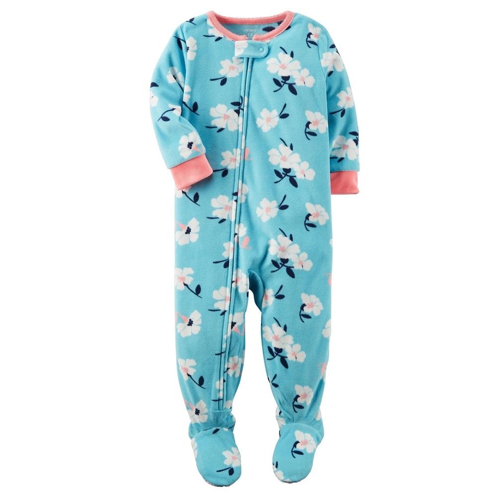 8f6969039e2c Shop Carter s Baby Girls  1 Piece Floral Fleece Pajamas