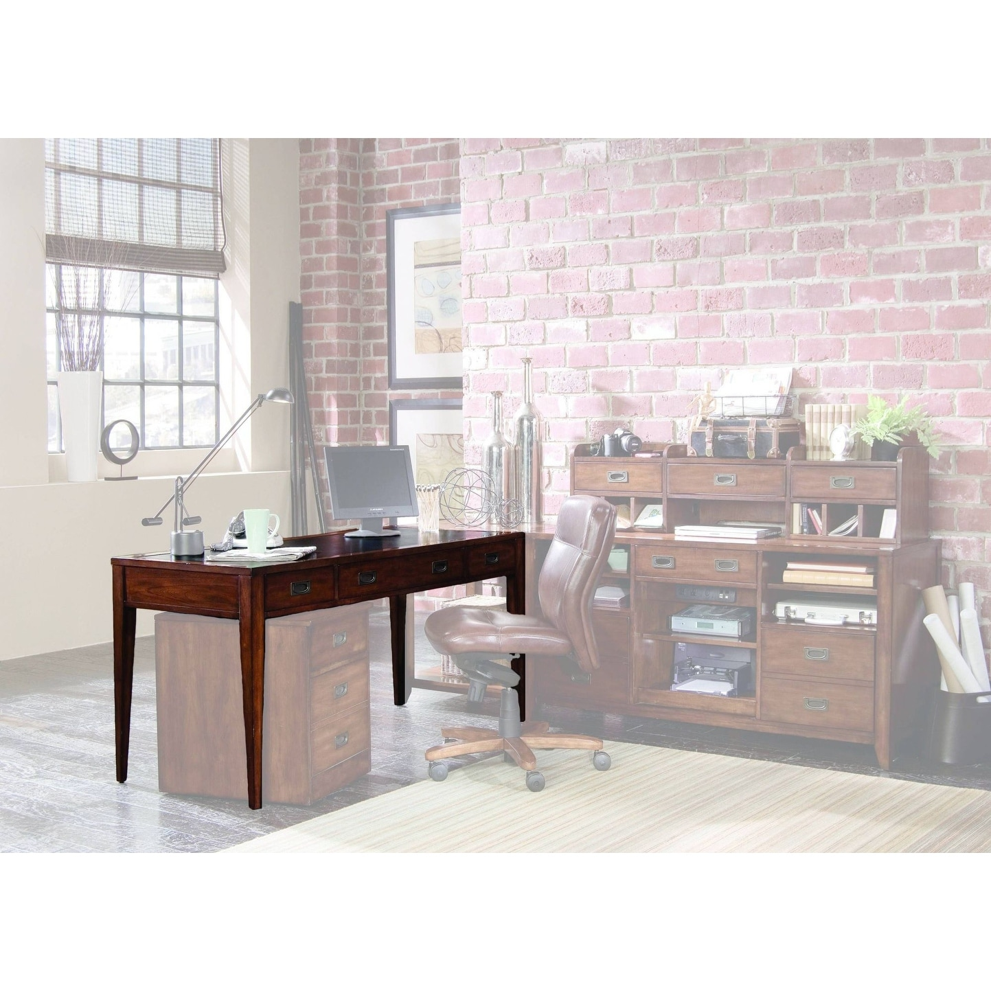 Shop hooker furniture 388 10 458 60 wide birch wood writing desk from the danforth collection rich medium brown n a free shipping today