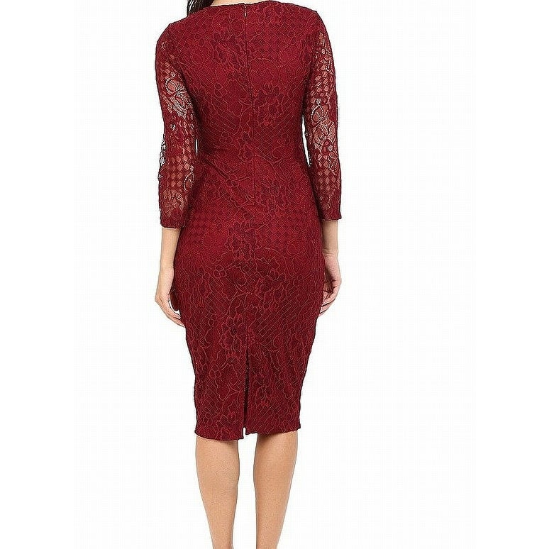 99333f08 Shop Jessica Simpson Wine Red Womens Size 12 Floral Lace Sheath Dress - Free  Shipping On Orders Over $45 - Overstock - 27082500