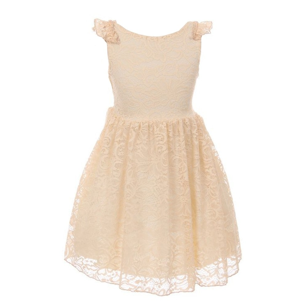 0bd45df85d8 Shop Little Girls Champagne Floral Pattern Lace Easter Flower Girl Dress -  Free Shipping On Orders Over  45 - Overstock - 20272033