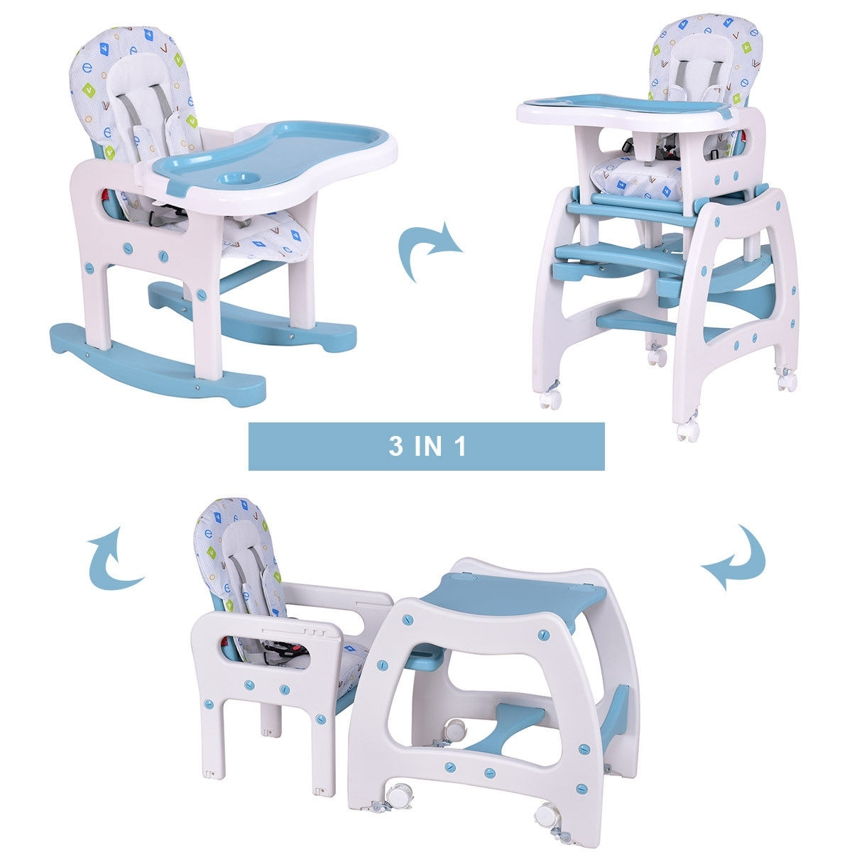 Shop Costway 3 In 1 Baby High Chair Convertible Play Table Seat